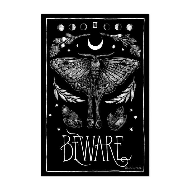 Moon Holiday Retro Insects Moth Symbols Art Print