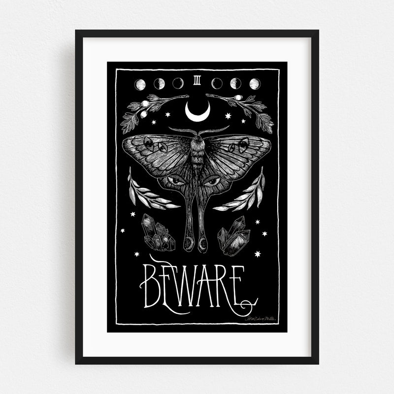 Moon Holiday Retro Insects Moth Symbols Framed Art Print