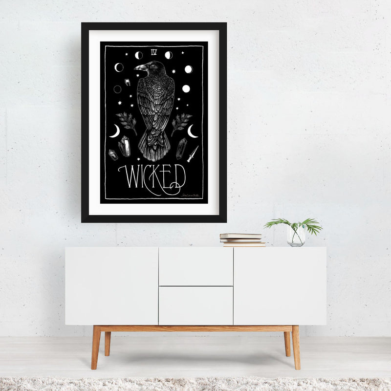 Birds Moon Retro Raven Crow  Framed Art Print