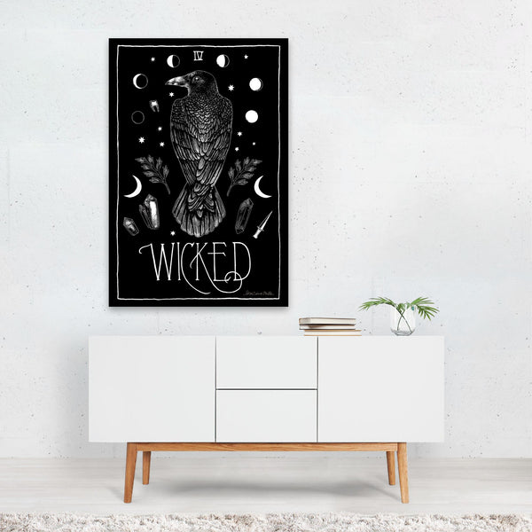 Birds Moon Retro Raven Crow  Art Print