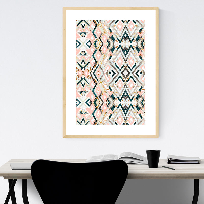Abstract Geometric Pattern Texture Framed Art Print