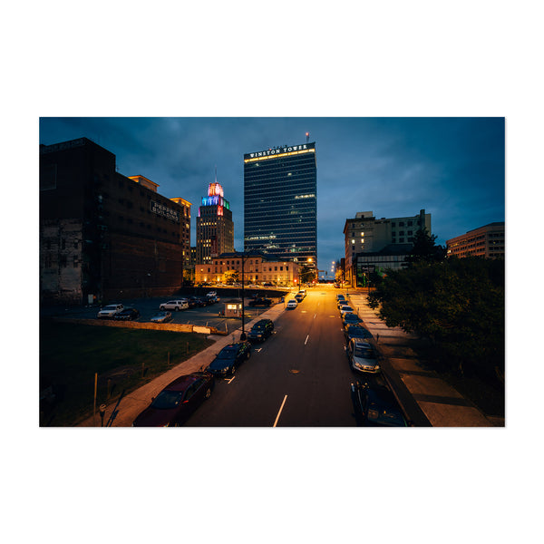 Winston-Salem Skyline at Night Art Print