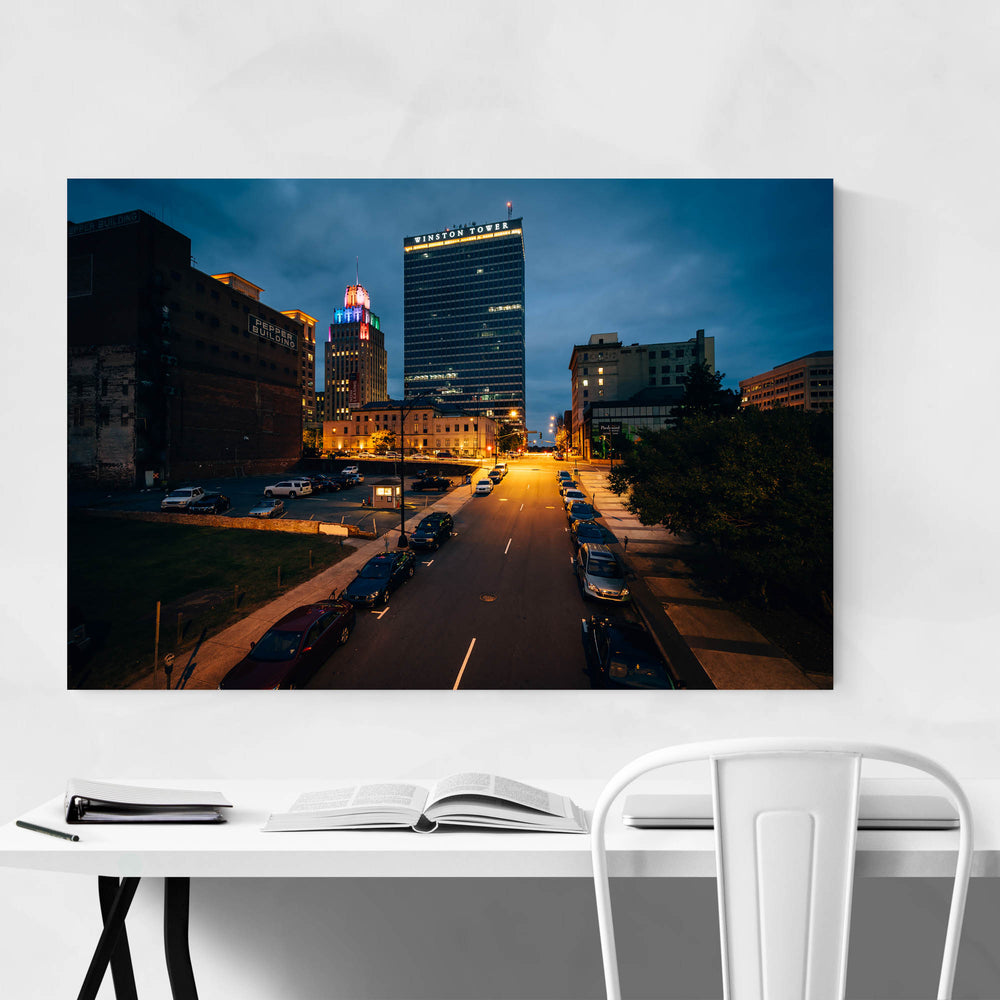 Winston-Salem Skyline at Night Framed Art Print