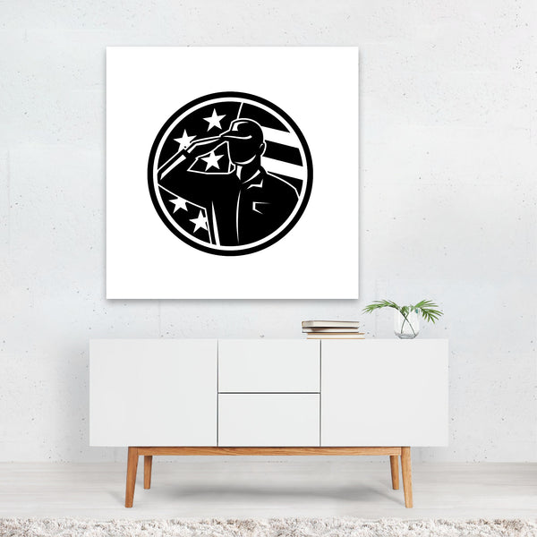 American Army Black And White Circles Canvas