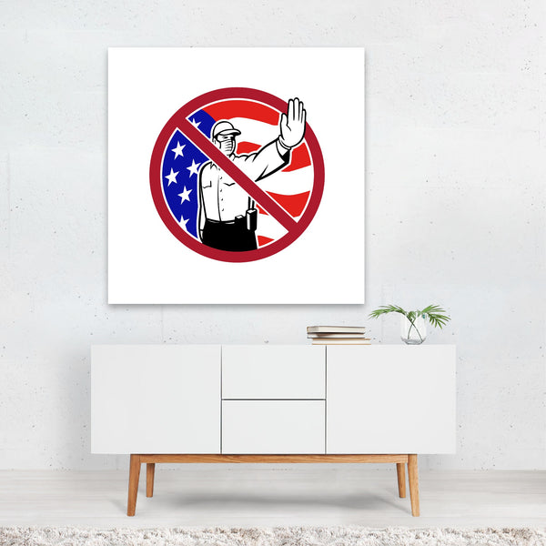 American Circles Clocks Flags Retro Canvas