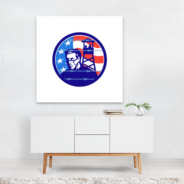 American Cartoon Circles Flags Retro Canvas