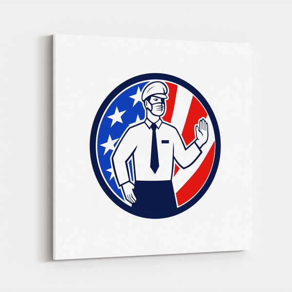 American Circles Flags Retro Signs Canvas