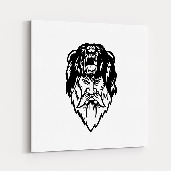 Animals Bear Black And White Canvas