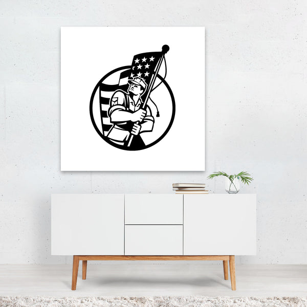 American Black And White Circles Flags Canvas