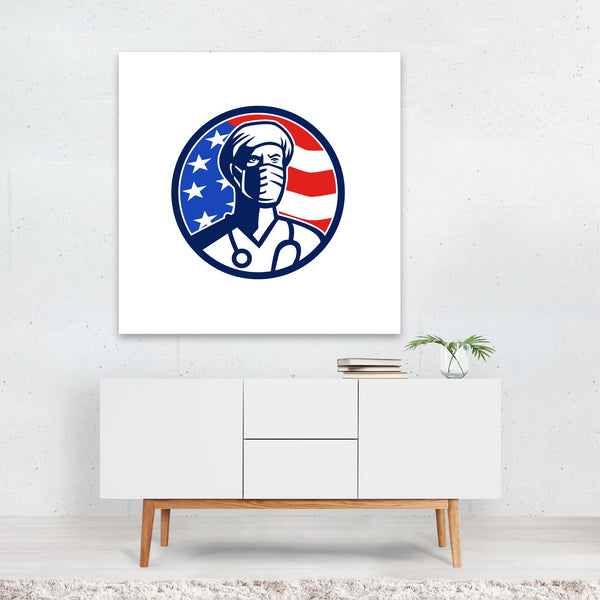 American Circles Flags Football Retro Canvas