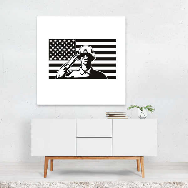 American Army Black And White Canvas