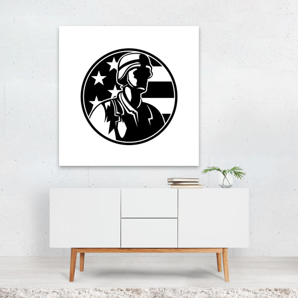 American Black And White Canvas
