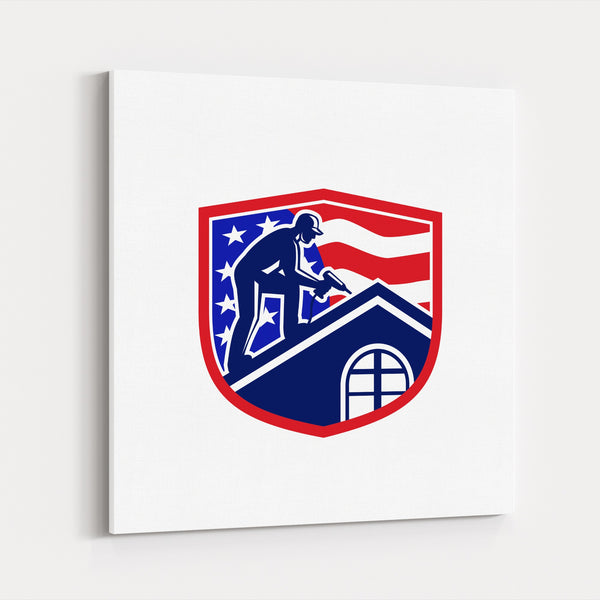 American Construction Flags Football Canvas