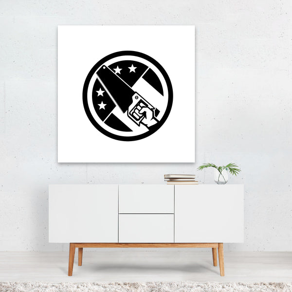 American Black And White Circles Canvas