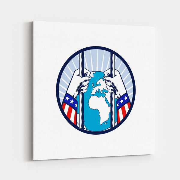 American Circles Flags Globe Oval Retro Canvas