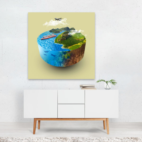 Beach Boats Earth Globe Nature Nautical Canvas