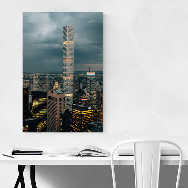 Manhattan NYC Skyline Night View Art Print