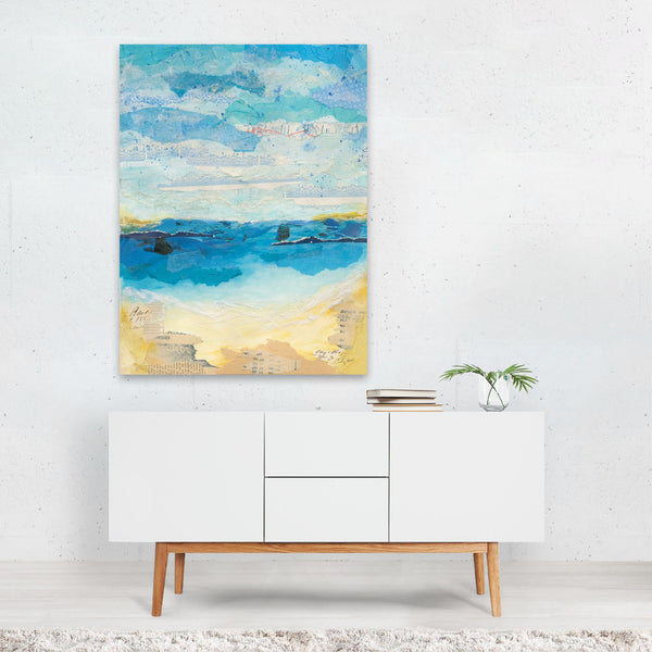 Beach Abstract Clouds Waves Collage Art Print
