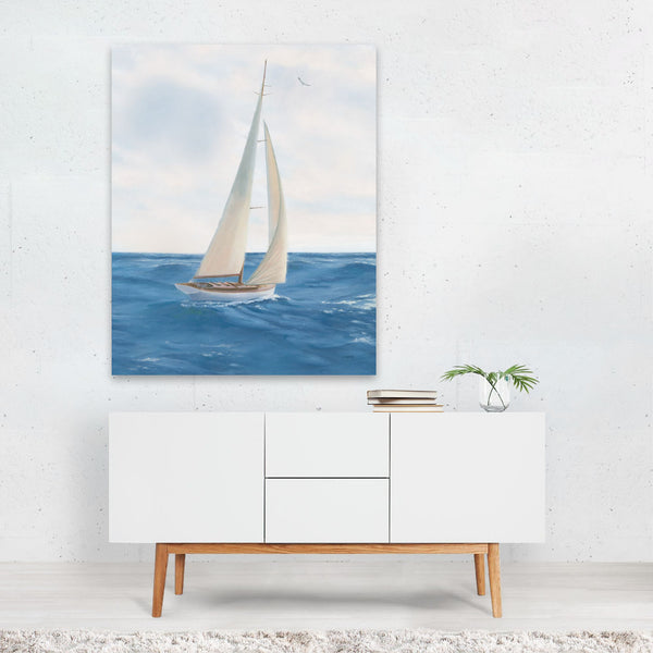 Beach Sailboat Nautical Boats Waves Art Print