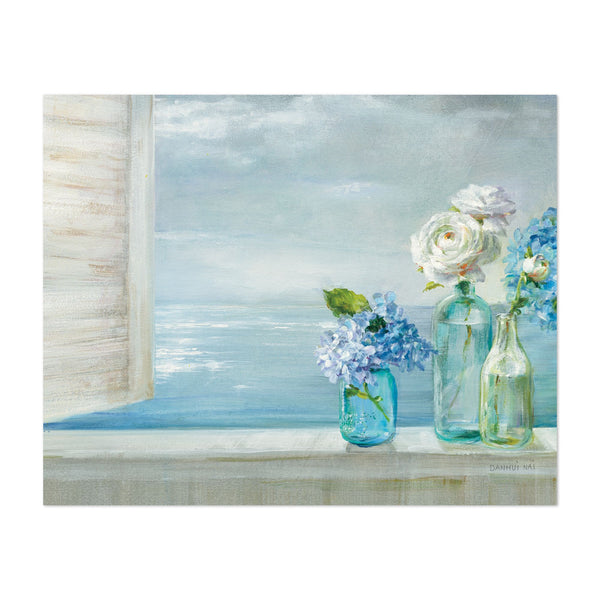Beach Floral Still Life Hydrangea Rose Art Print