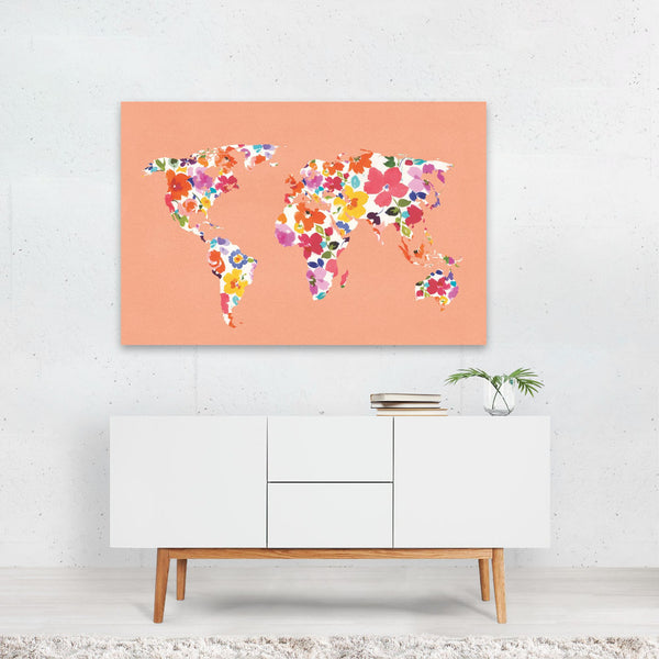 Floral Maps Travel Poster Globe Map Art Print