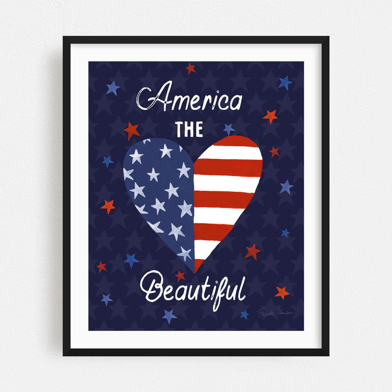 Heart Flags Holiday Typography Framed Art Print