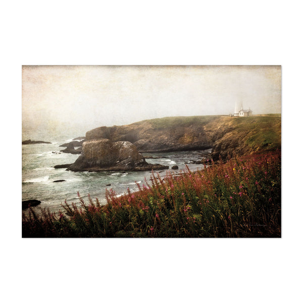Oregon Beach Fog Lighthouse Photo Art Print