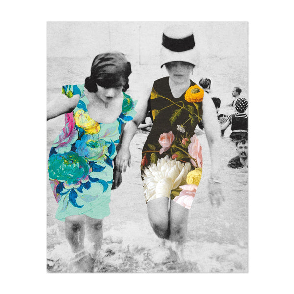 Feminine Beach Floral Swimming Photo Art Print