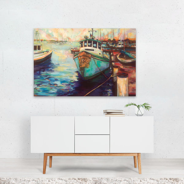 Beach Nautical Boats Fish Fishing Art Print