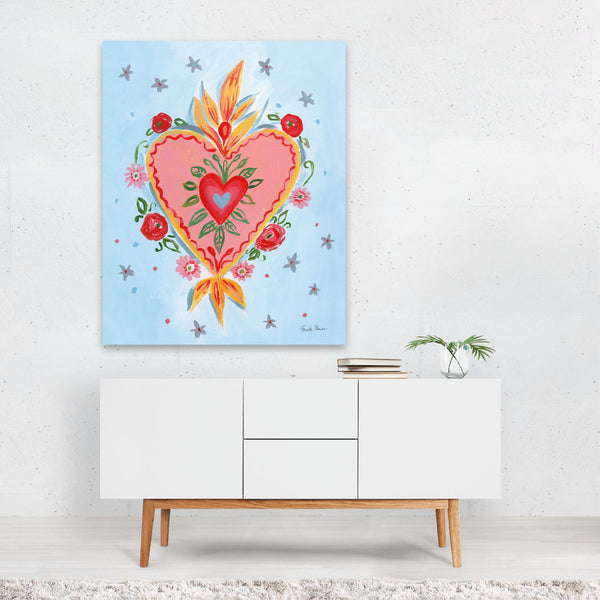 Mexico Floral Heart Illustration Art Print