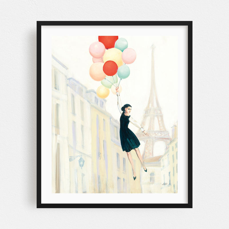 Paris France Eiffel Tower Balloons Framed Art Print
