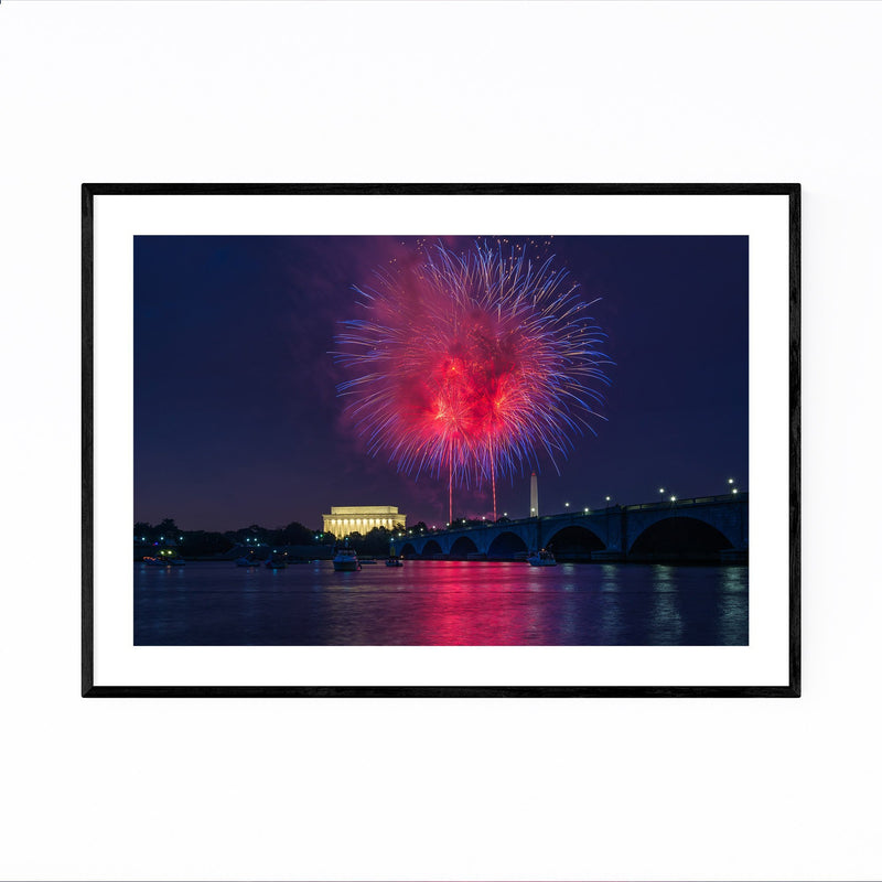 Washington DC Fireworks Photo Framed Art Print
