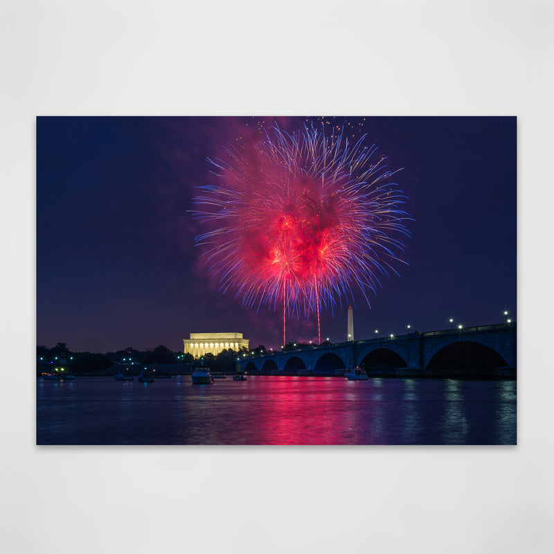 Washington DC Fireworks Photo Metal Art Print