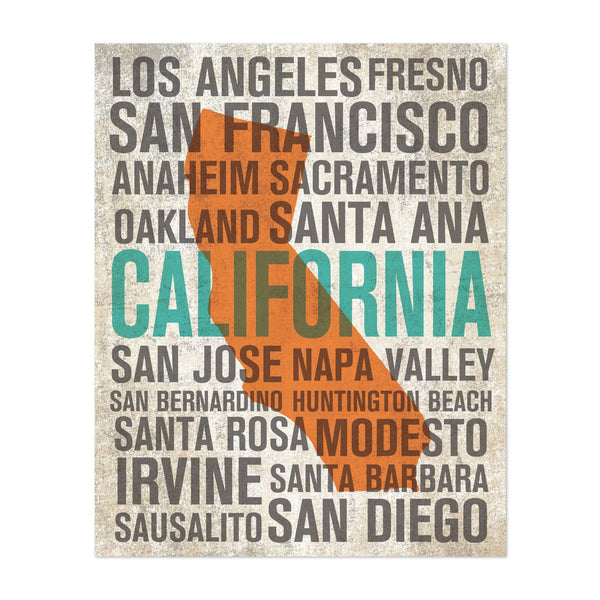 California Urban Travel Poster Art Print