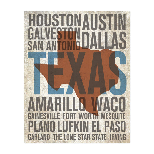 Texas Urban Travel Poster Illustration Art Print