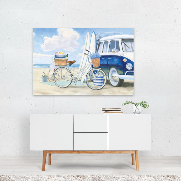 Beach Cars Retro Bathroom Surfing Art Print