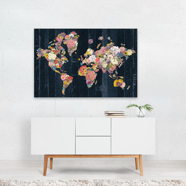 Floral Maps Retro Travel Poster Globe Art Print
