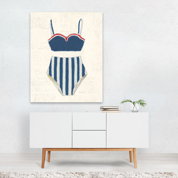 Beach Nautical Fashion Swimming Retro Art Print