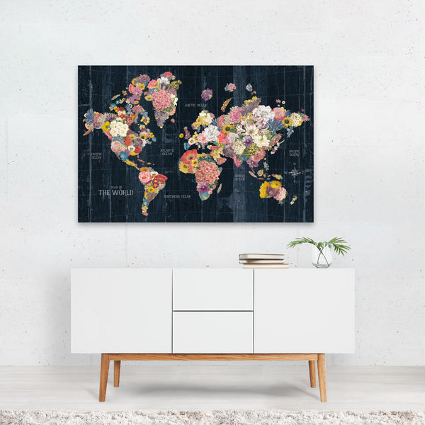 Floral Maps Retro World Map Art Print