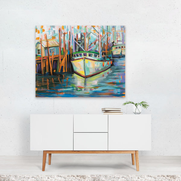 UK Beach Nautical Boats Illustration Art Print