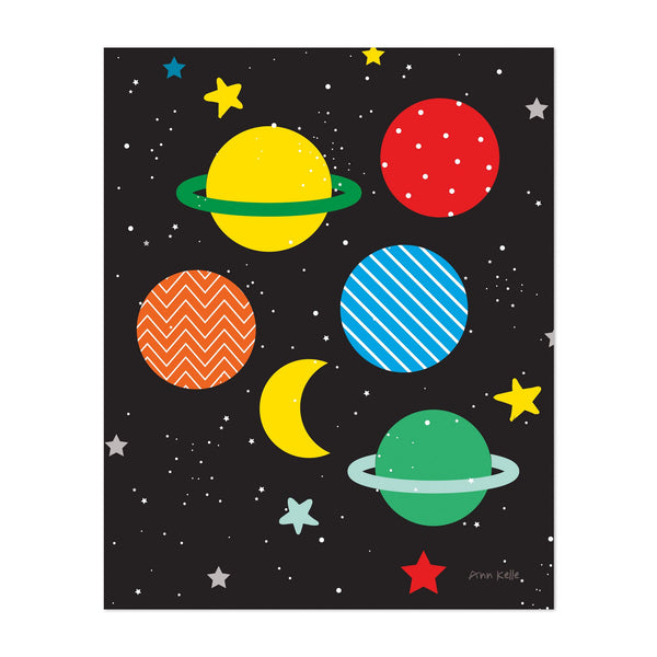 Moon Planets Astronomy Science Saturn Art Print