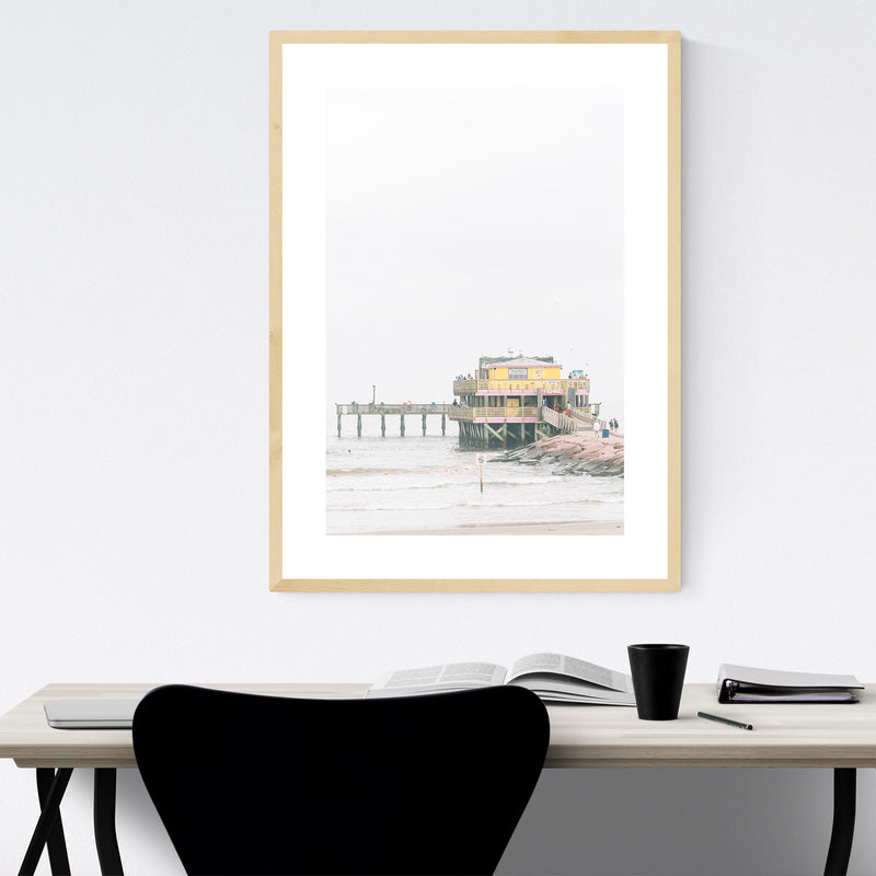 Fishing Pier Galveston Texas Framed Art Print