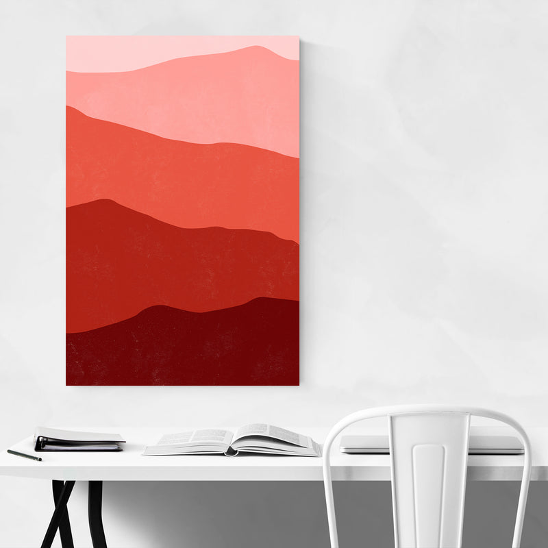 Abstract Red Mountain Layers Art Print