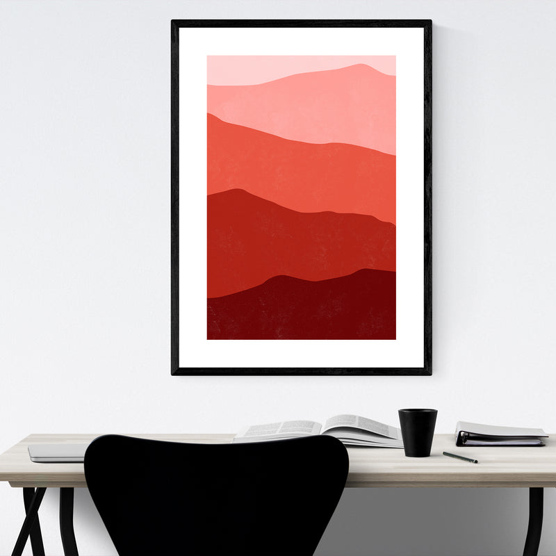 Abstract Red Mountain Layers Framed Art Print