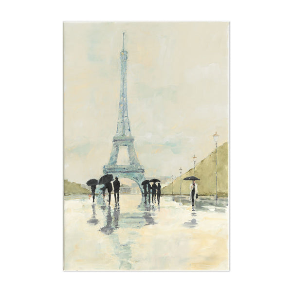 Paris People Rain Umbrella Eiffel Tower Art Print