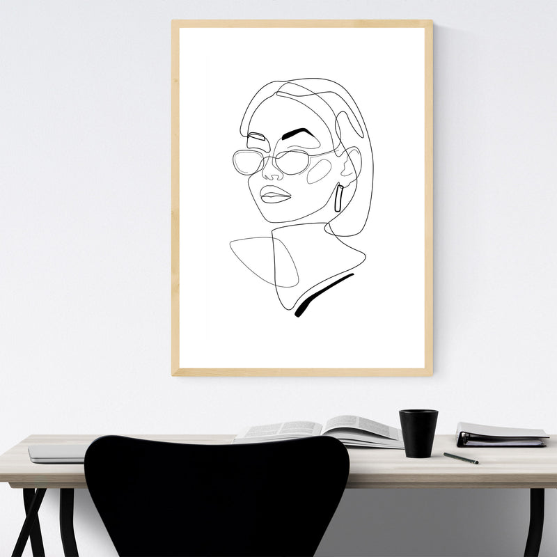 Minimal Feminine Line Drawing Framed Art Print