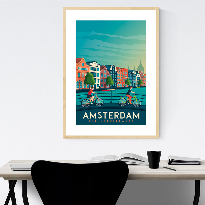 Minimal Amsterdam Travel Print Framed Art Print