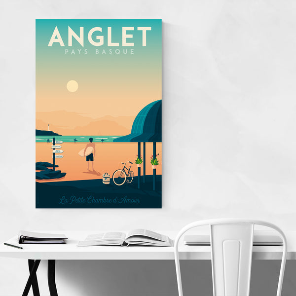 Retro Anglet France Travel Print Art Print