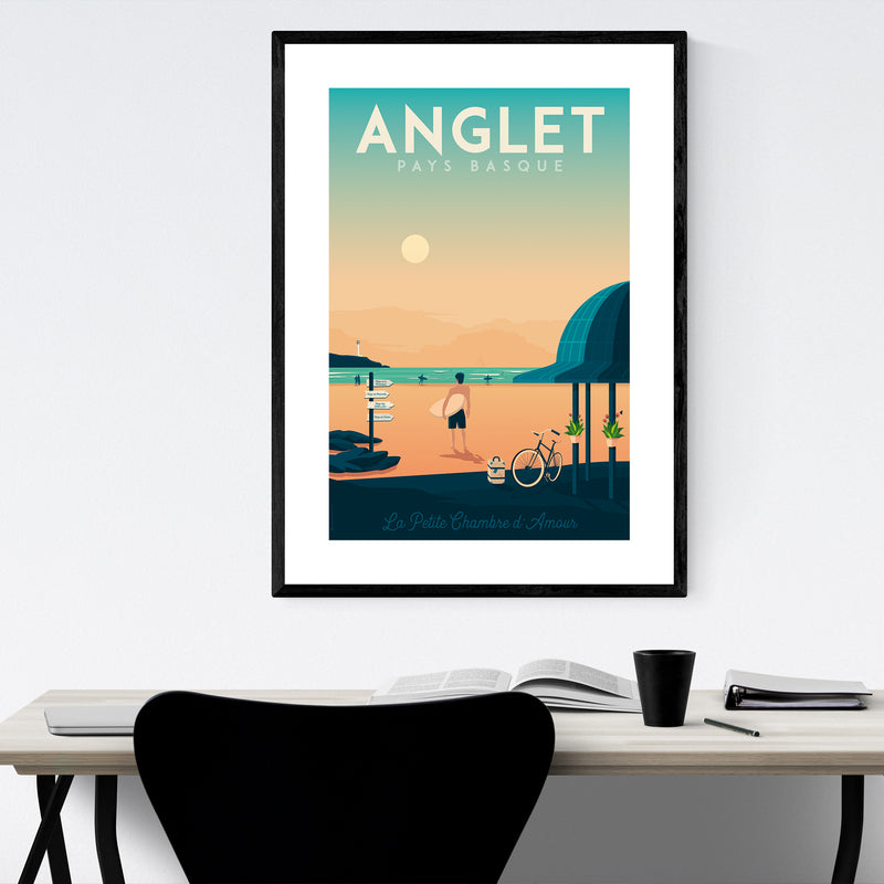 Retro Anglet France Travel Print Framed Art Print