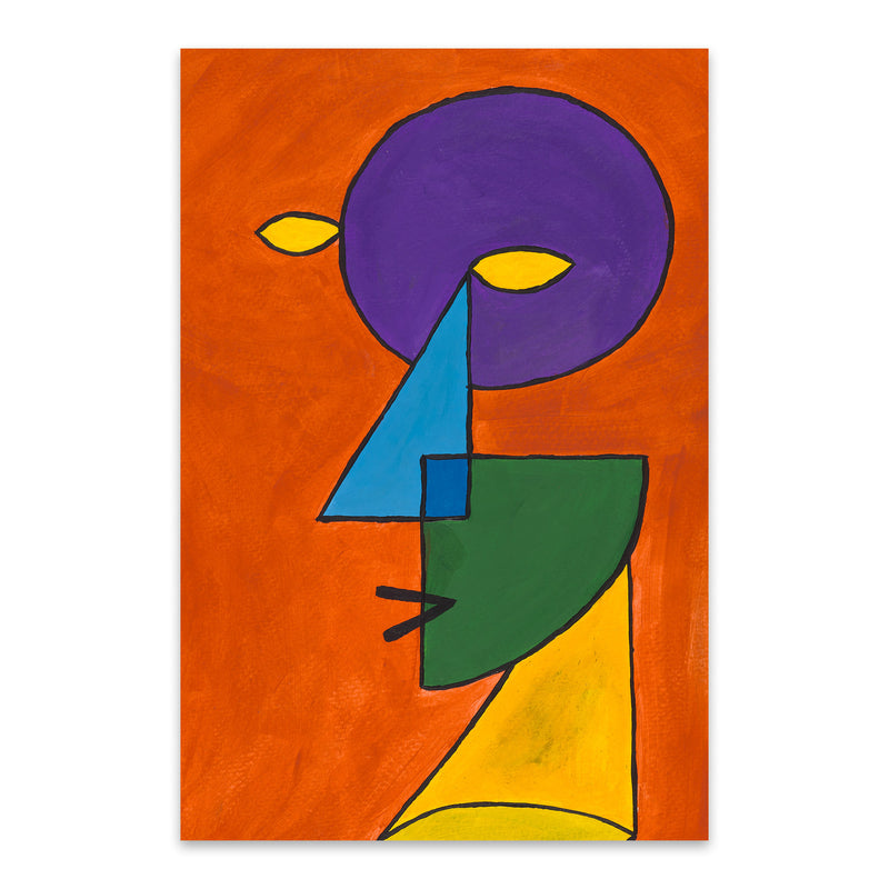 Abstract Geometric Face Painting Metal Art Print